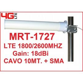 MRT-1727 ANTENNA DIRETTIVA 18dBi 3G 4G LTE (1800/2700Mhz)- CAVO 10MT. + SMA M