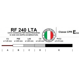 COAXIAL RF CABLE RF240LTA - 50 OHM - MADE IN ITALY
