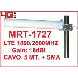 MRT-1727 ANTENNA DIRETTIVA 18dBi 3G 4G LTE (1800/2700Mhz)- CAVO 5MT. + SMA M