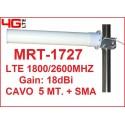 MRT-1727 ANTENNA DIRETTIVA YAGI 18dBi 3G 4G LTE (1800/2600Mhz)- CAVO 5MT. + SMA M
